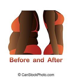 fitness, avant, corps, yoga., femme, après