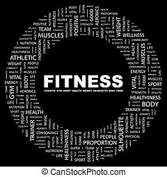 FITNESS. Background concept wordcloud illustration. Print concept word cloud. Graphic collage.
