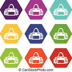 Fitness bag icons set 9 vector