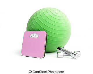 fitness ball bathroom scale, weights on a white background
