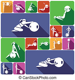 Fitness ball icons set flat