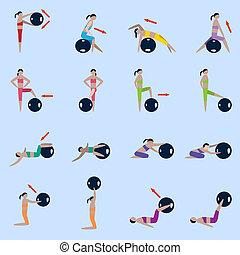 Fitness ball icons set