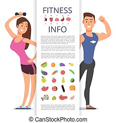 Fitness banner flyer template. Sports cartoon character