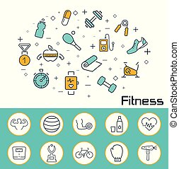 Fitness banner in flat style. Outline vector icons.