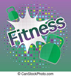 Fitness banner with comic text effects