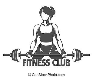 fitness, barre disques, femme, emblème