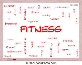 fitness, begrepp, ord, moln,  whiteboard