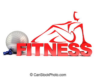fitness, begriff, 3d