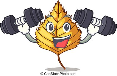 Fitness birch leaf in the mascot shape vector illustration
