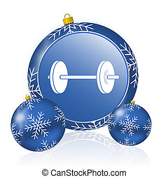 Fitness blue christmas balls icon