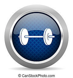 fitness blue circle glossy web icon on white background, round button for internet and mobile app