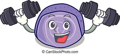 Fitness blueberry roll cake character cartoon