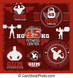 Fitness bodybuilding vintage label for flayer poster logo t-shirt print with lettering
