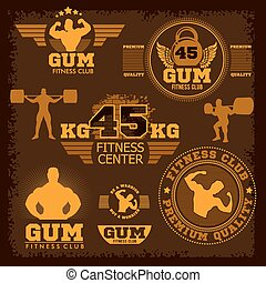 Fitness bodybuilding vintage label for flayer poster logo or t-shirt print with lettering
