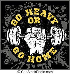 Fitness bodybuilding vintage label for flayer poster logo or t-shirt print with lettering and dumbbell