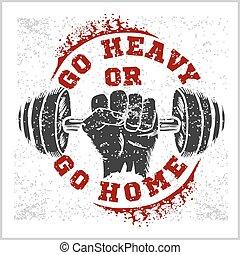 fitness, bodybuilding, weinlese, etikett, für, flayer,...