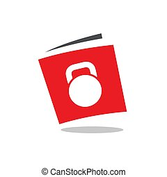 Fitness book, book with kettlebell, workout symbol, vector logo design