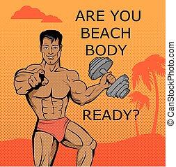 fitness, boy., sandstrand, koerper, bereit, design