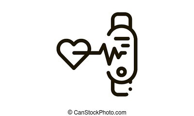 fitness bracelet heart beat Icon Animation. black fitness bracelet heart beat animated icon on white background