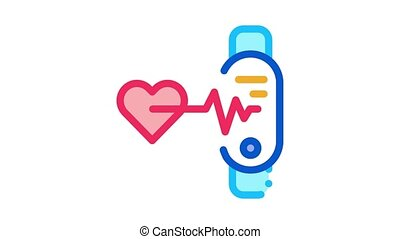 fitness bracelet heart beat Icon Animation. color fitness bracelet heart beat animated icon on white background