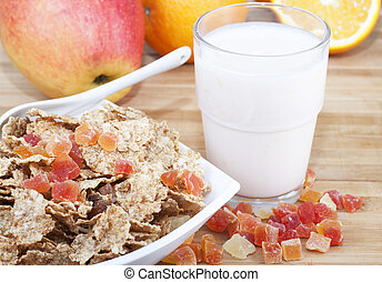 Fitness breakfast of cereal, fruit and yogurt.