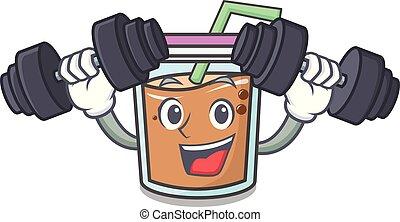 Fitness bubble tea character cartoon