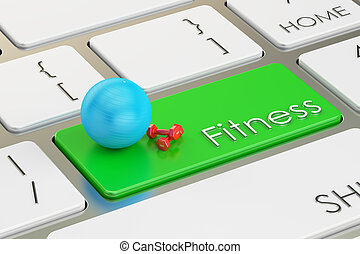 fitness button, key on keyboard. 3D rendering