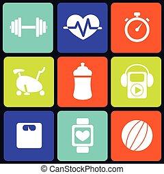 fitness, carrée, icônes