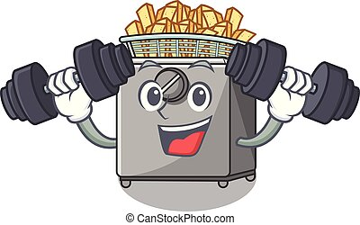 Fitness cartoon deep fryer in the kitchen vector...