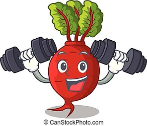 Fitness cartoon fresh harvested beetroots in wooden crate