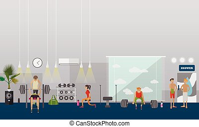 Fitness center interior vector illustration. People work out...