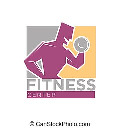 Fitness center or gym club sport vector icons set - Fitness...
