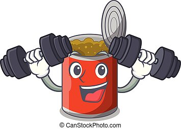 Fitness character canned food isolated on cartoon