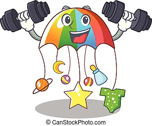 Fitness character hanging toy attached to cot vector...