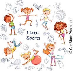 Children are engaged in different kinds of sports on the background of various sports equipment
