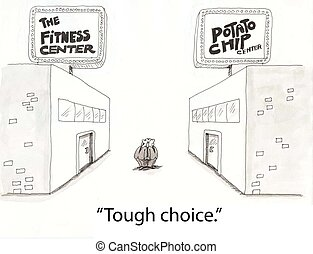 Fitness choice - two men choose among fitness clubs