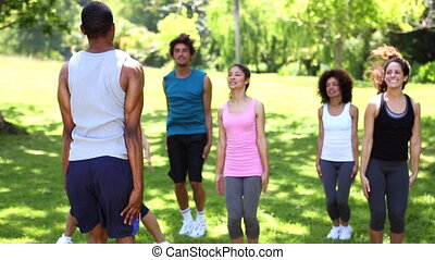 Fitness class doing jumping jacks in the park on a sunny day
