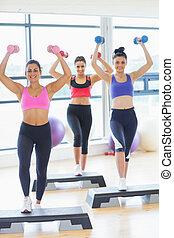 Fitness class performing step aerobics