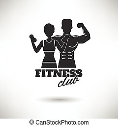 Fitness Club Black And White Poster