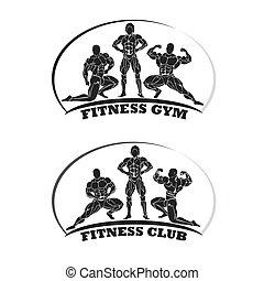 fitness club emblem, bodybuilding