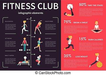 Fitness Club infographic flat vector illustration. Presentation Concept
