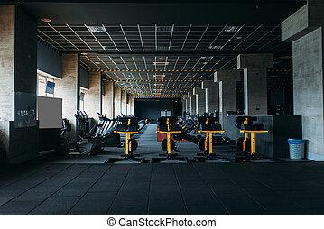 Fitness club interior. Gym nobody