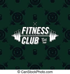 Fitness club logo on seamless pattern with dumbbells, vector illustration