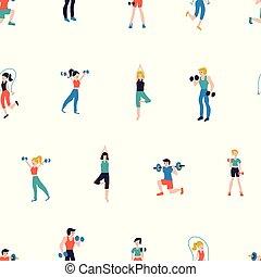 Fitness club seamless pattern vector illustration. Sport center background