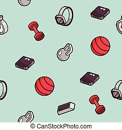 Fitness color outline isometric pattern