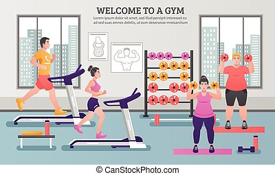 Fitness Colored Composition