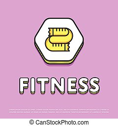 Fitness colour icon with measuring tape