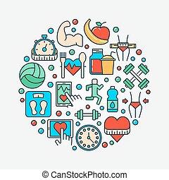 Fitness concept flat illustration