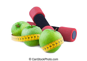Fitness concept  Green apple with Measuring Tape
