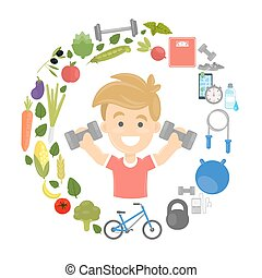 Fitness concept illustration. Man with healthy fitness icons...